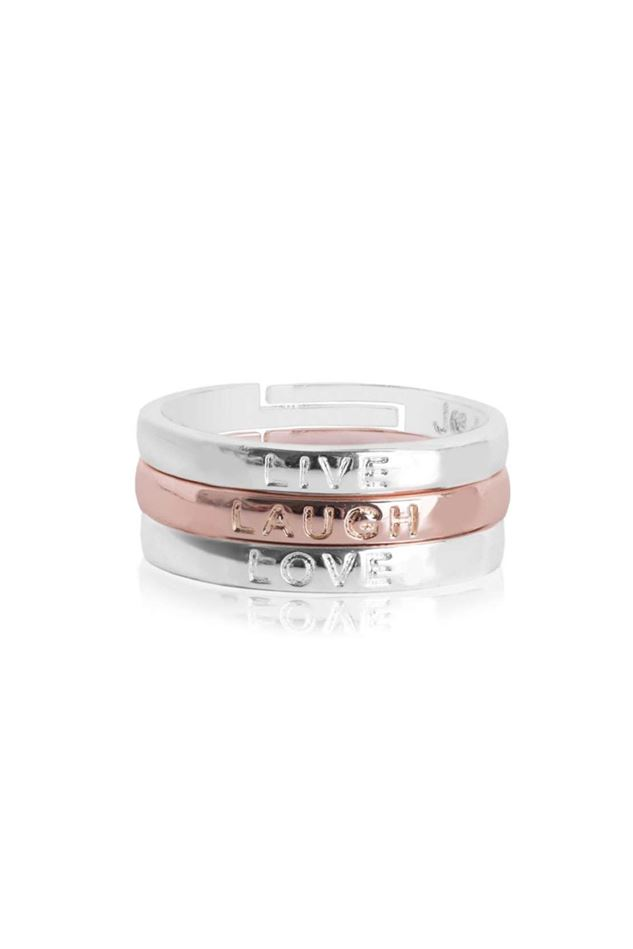 Picture of Joma Jewellery 'Live Laugh Love' Sentiment Stacking Rings