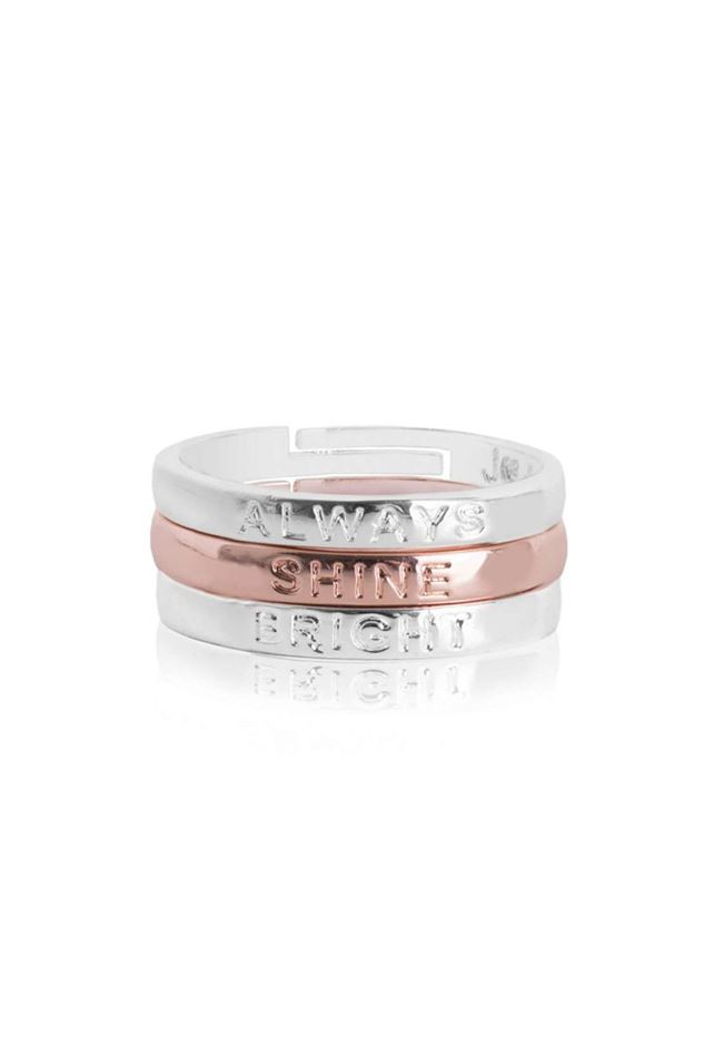 Picture of Joma Jewellery 'Always Shine Bright' Sentiment Stacking Rings