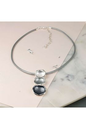 Picture of Pom Shades of Grey Silver Plated Enamel Necklace