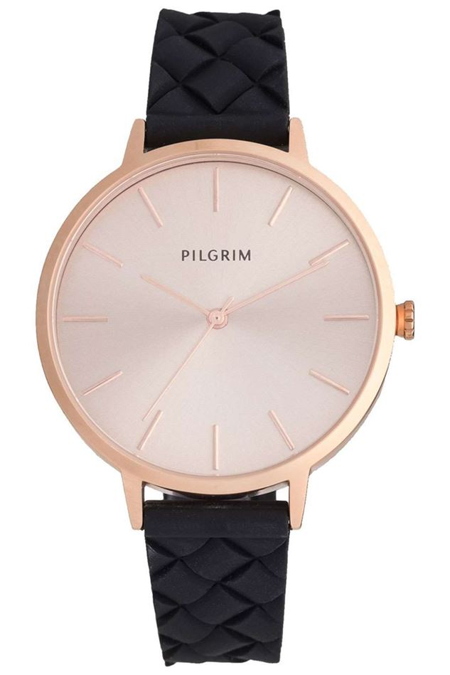 Picture of PILGRIM ASTER ROSE GOLD PLATED BLACK WATCH