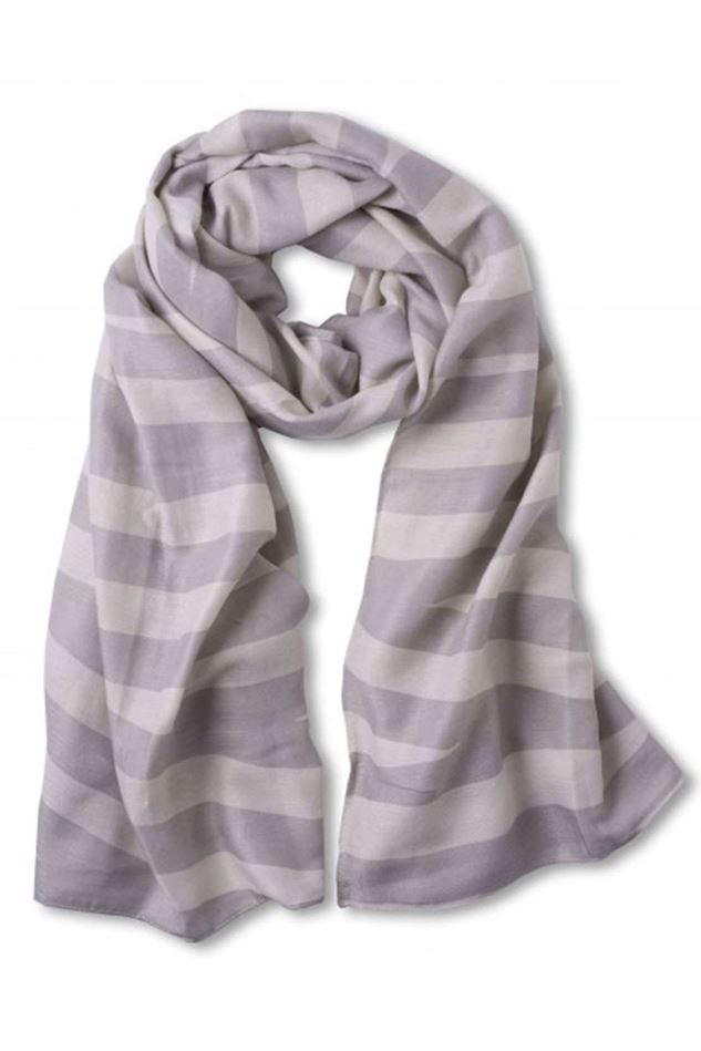 Picture of KATIE LOXTON GREY AND PALE GREY STRIPED SCARF