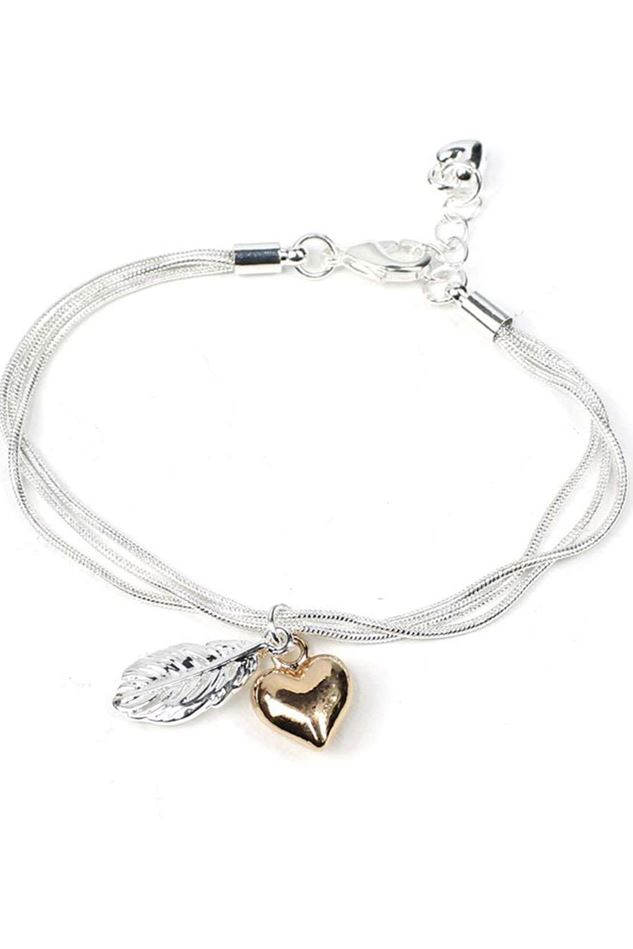Picture of Pom Triple Strand Feather & Heart Charm Bracelet