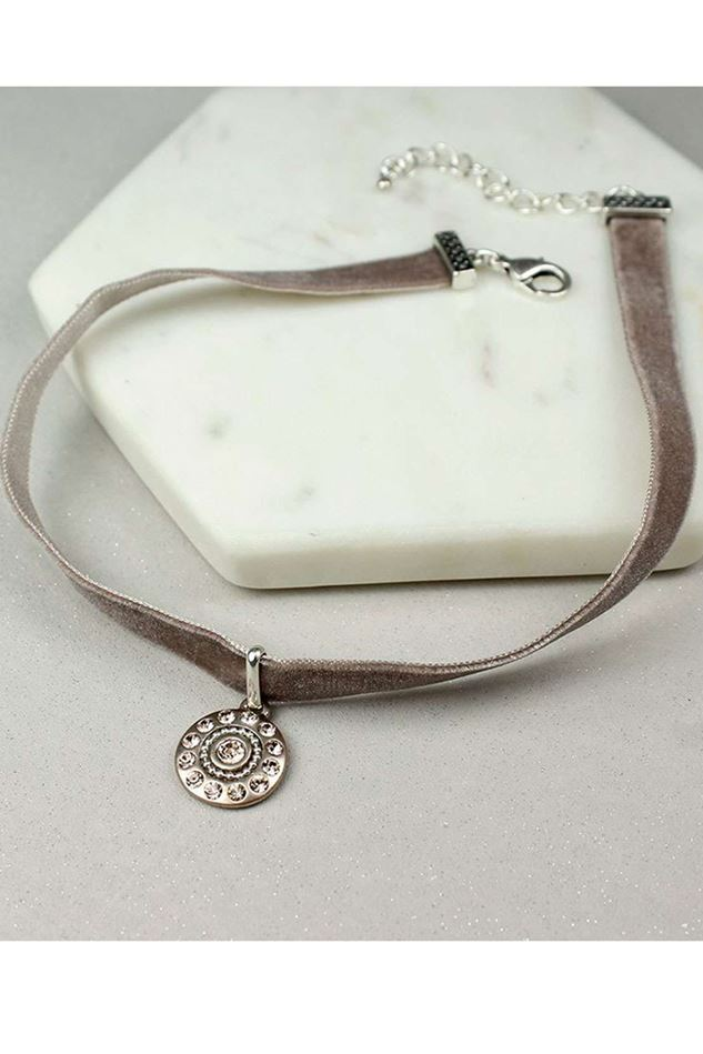 Picture of Pom Velvet Choker with Bronze Crystal Disc