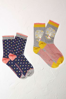 Picture of White Stuff Tree Of Life 2 Pack Socks