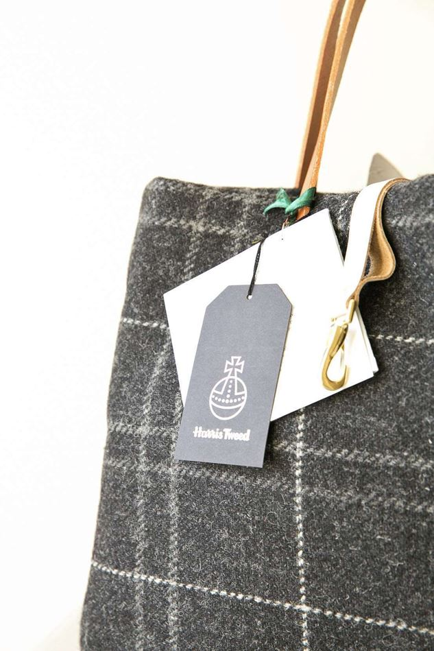 Picture of Harris Tweed Charcoal Check Tote Bag