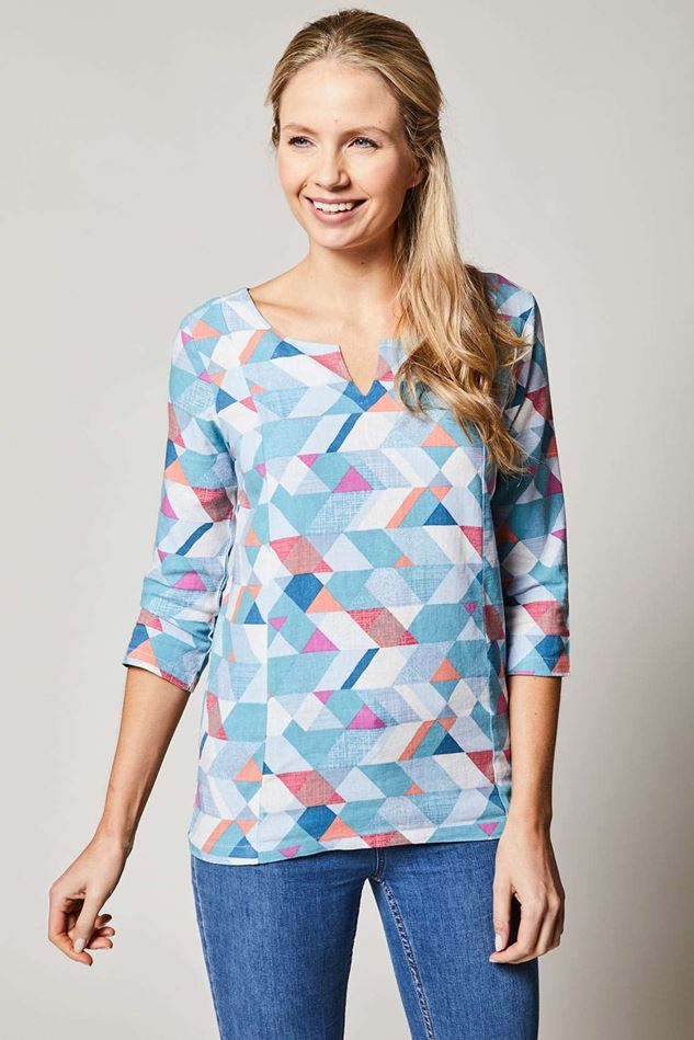 Picture of Lily & Me Jessica Linen Geo Tunic