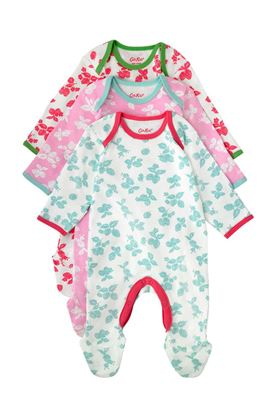 Picture of Cath Kidston Mono Strawberries Baby 3 Pack Sleepsuit