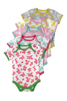 Picture of Cath Kidston Mono Strawberries Baby 5 Pack Bodysuit