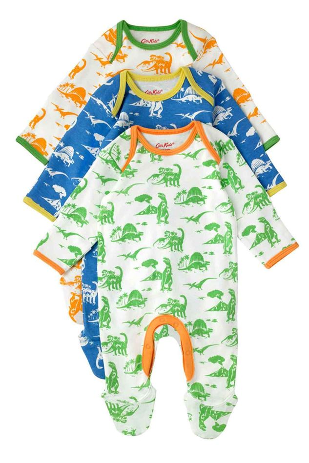Picture of Cath Kidston Mono Dino Baby 3 Pack Sleepsuit
