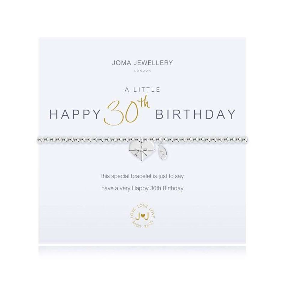 Picture of Joma Jewellery a little Happy 30th Birthday silver bracelet