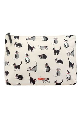 Picture of Cath Kidston Small Painted Cats Matt Zip Wash Bag