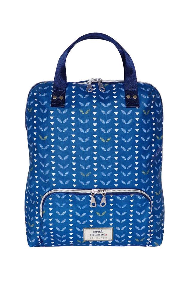 Picture of Earth Squared Navy Leaf Oil Cloth Backpack