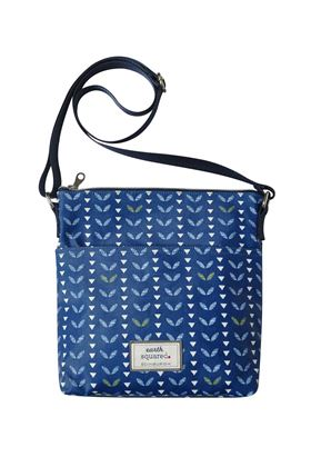Picture of Earth Squared Navy Leaf Oil Cloth Messenger Bag