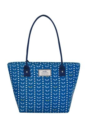 Picture of Earth Squared Navy Leaf Oil Cloth Tote Bag