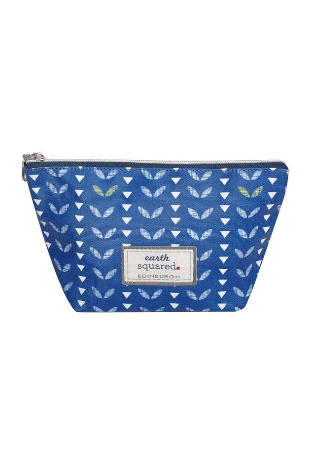 Picture of Earth Squared Navy Leaf Oil Cloth Make Up Bag Large
