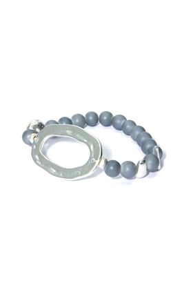 Picture of Envy Beaded Bracelet With Silver Flat Beaten Hoop