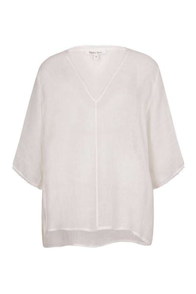 Picture of Muted Tones Frayed Edge V-Neck Gauze Top