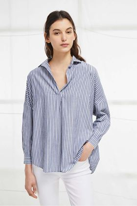 Picture of French Connection Tatus Stripe Pop Over Shirt