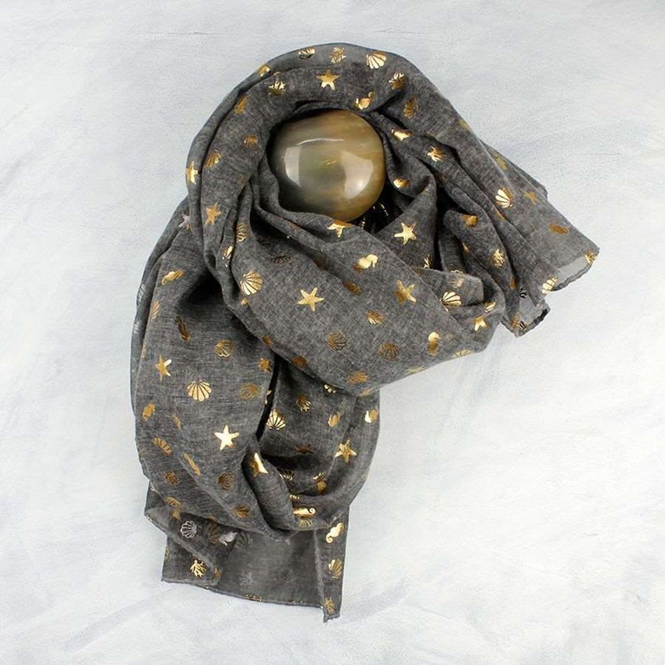 Picture of Pom Dark Grey and Gold Sea Shells Themed Scarf