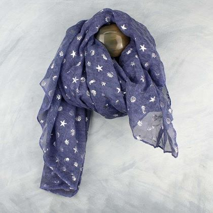 Picture of Pom Washed Blue and Silver Sea Themed Scarf