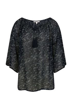 Picture of Muted Tones Silk Georgette Spotty Tassel Top