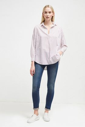 Picture of French Connection Bega Stripe Dip Hem Shirt