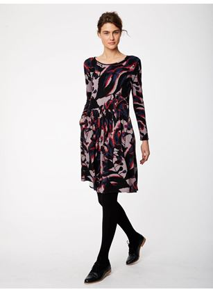 Picture of Thought Shadow Leaf Fitted Bamboo Dress