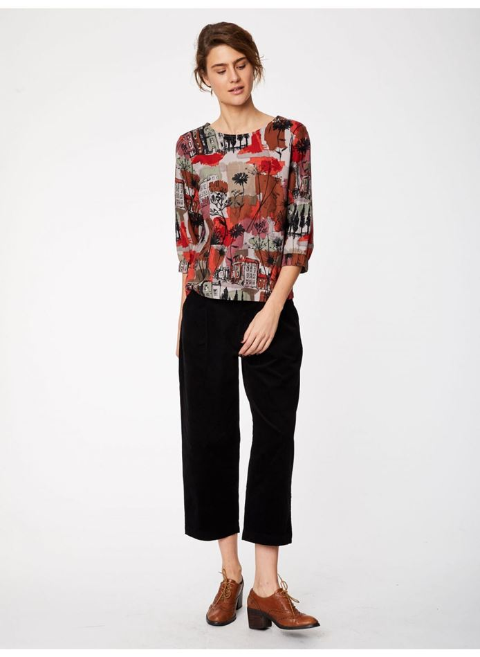 Picture of Thought Glasgow Short Sleeve Print Hemp Top