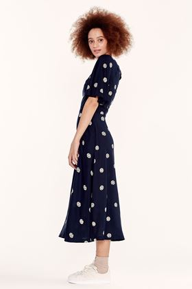 Picture of Emily and Fin Suzanna Navy Spot Midi Dress