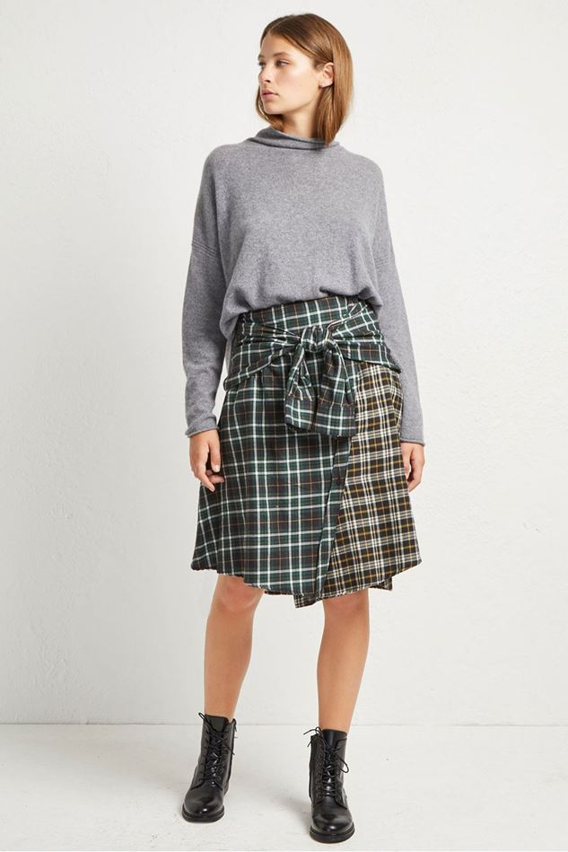 Picture of French Connection Este Check Tie Sleeve Skirt