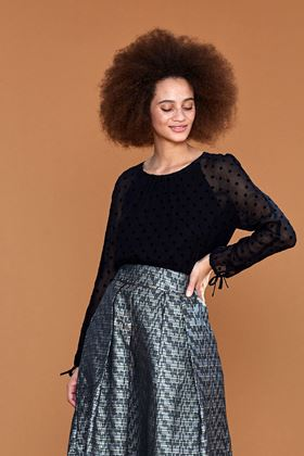Picture of Emily and Fin Stephy Black Flocked Spot Top