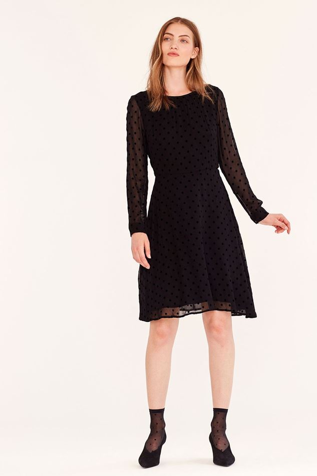 Picture of Emily and Fin Elinor Long Sleeve Black Flocked Spot Dress