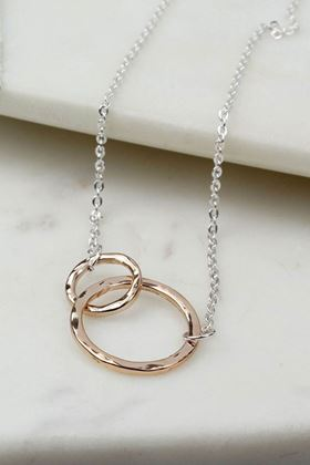 Picture of Pom Rose Gold Interlocking Hoops Necklace