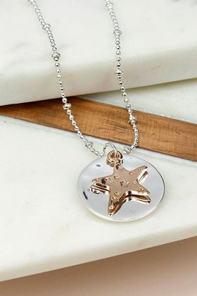 Picture of Pom Embossed Star and Disc Necklace