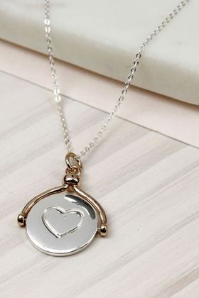 Picture of Pom Heart & Arrow Spinner Necklace