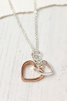 Picture of Pom Silver And Rose Gold Hearts Necklace