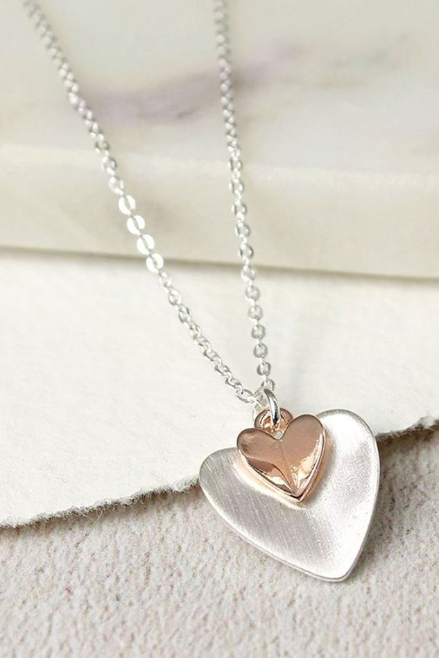 Picture of Pom Silver Plated Rose Gold Folded Hearts Necklace