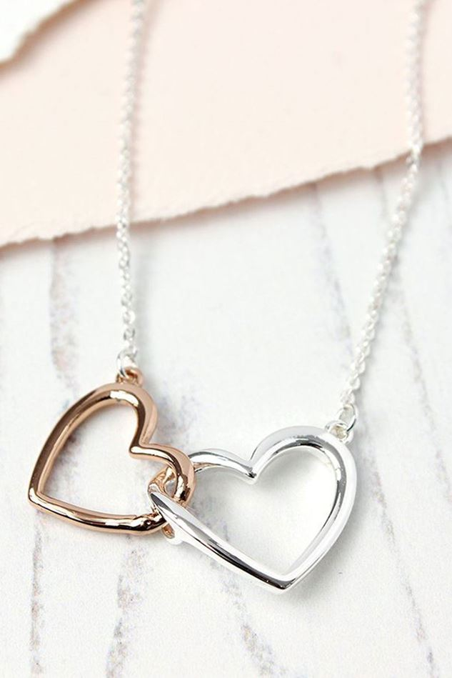 Picture of Pom Silver Rose Gold Linked Hearts Necklace