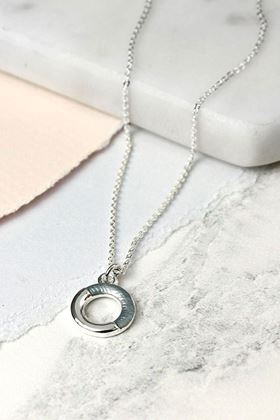 Picture of Pom Silver Plated Grey Enamel Half Circle Necklace
