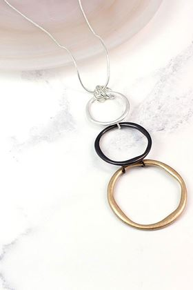 Picture of Pom Long Mixed Finish Triple Hoop Necklace