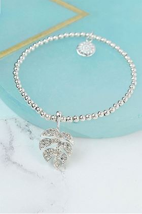 Picture of Pom Silver Plated Crystal Tropical Leaf Bracelet