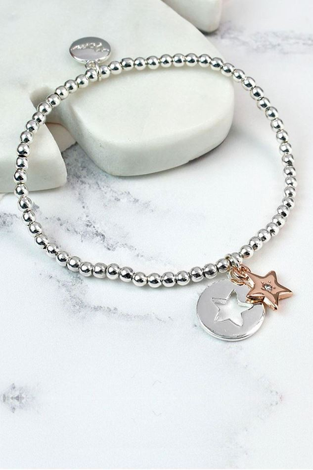 Picture of Pom Silver Star Disc Rose Gold Crystal Star Bracelet