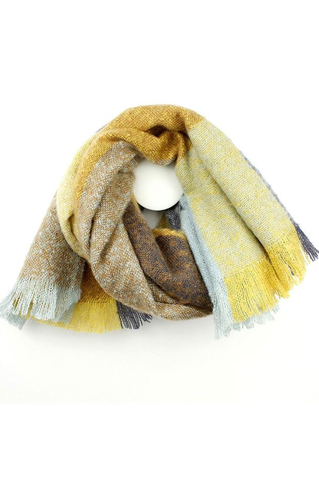 Picture of Pom Mustard Mix Check Scarf