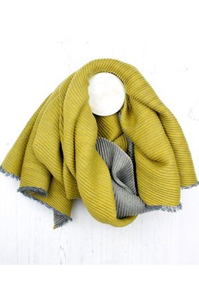 Picture of Pom Grey/Mustard Pleated Scarf