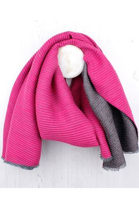 Picture of Pom Grey/Pink Pleated Scarf