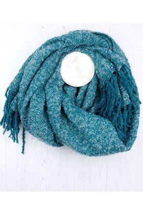 Picture of Pom Aqua Soft Knit Tassel Scarf