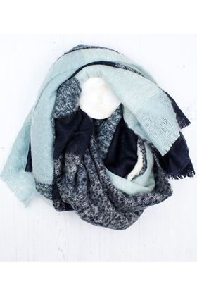 Picture of Pom Blue Mix Block Knit Scarf