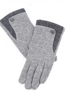 Picture of Pom Grey Gloves with Herringbone Detail