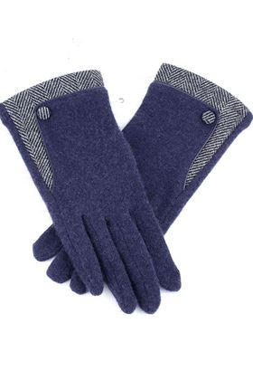 Picture of Pom Navy Gloves with Herringbone Detail