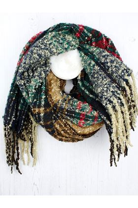 Picture of Pom Red and Taupe Knit Scarf